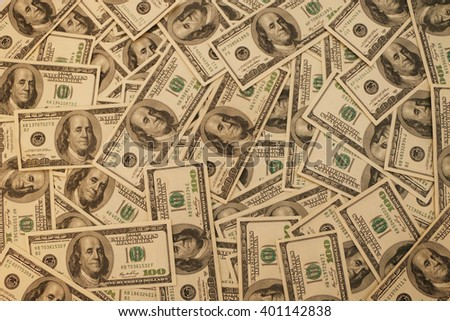 background of one hundred dollar bills background to work in future - stock photo