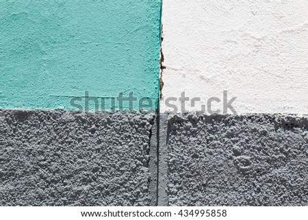 background of painted beton wall with gray, green and white colors - stock photo