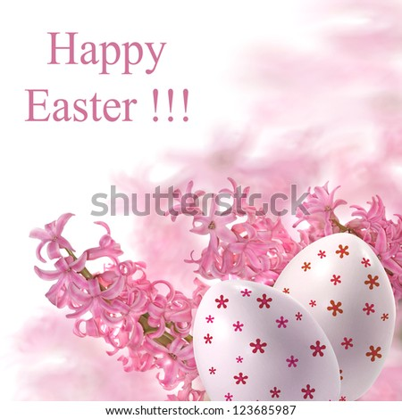 background of pink Easter eggs and hyacinth,