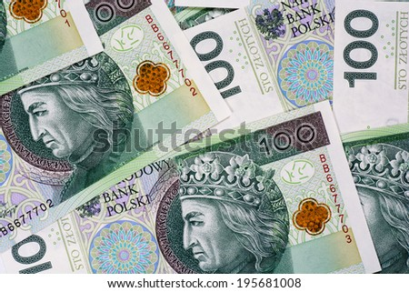 Background of 100 PLN (polish zloty) banknotes  - stock photo