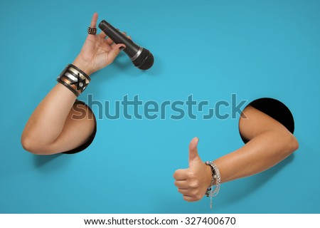 Background of poster on the topic - singing, compere, karaoke - stock photo
