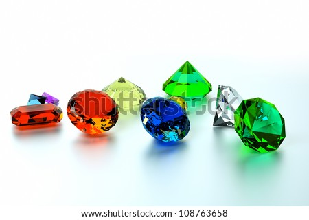 background of precious stones, front view - stock photo