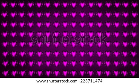 background of purple glass hearts in 3d  - stock photo