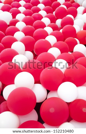 background of red and white balloon wall - stock photo
