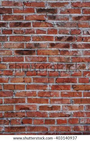 Background of red brick wall pattern texture. Great for graffiti inscriptions. Close up