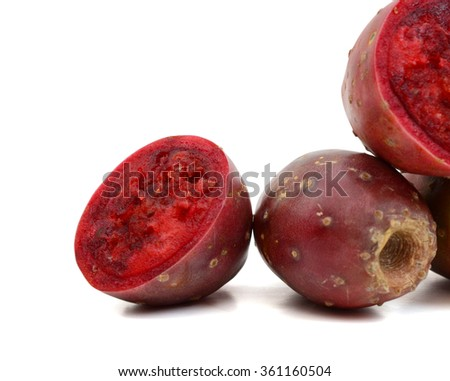 background of red cactus pear isolated on white