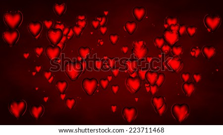 background of red glass hearts in 3d  - stock photo