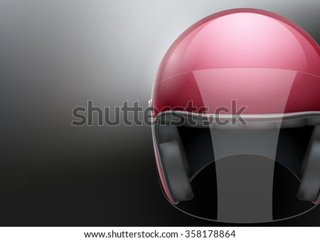 Background of red motorcycle or scooter helmet with glass  visor.  Illustration of safety.