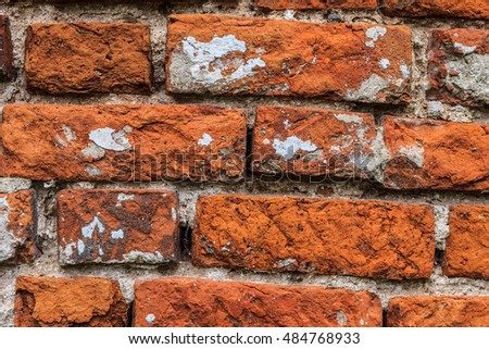 Background of red old brick wall texture