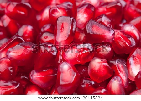 Background of red  pomegranate seeds