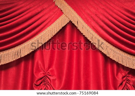 Background of red theater curtain with pleats - stock photo