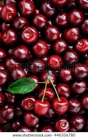 Background of ripe organic cherries