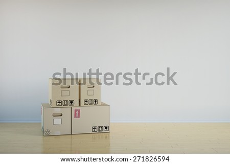 Background of room with stack of moving boxes (3D Rendering) - stock photo