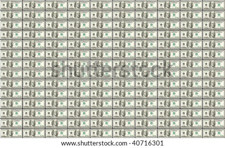 Background of rows of United States dollars