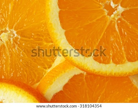 background of sliced oranges close up
