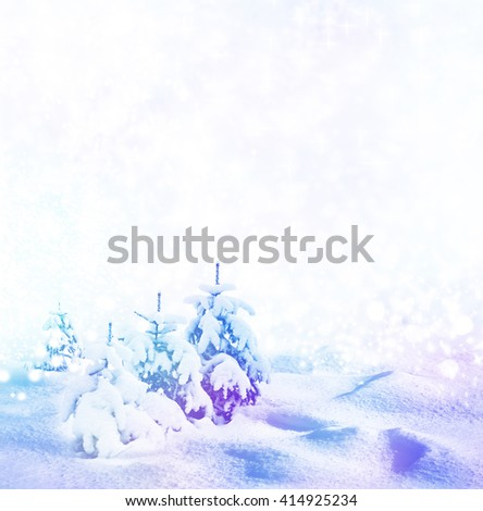 Background of snow. Winter landscape. Photo. - stock photo
