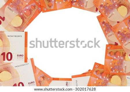 Background of ten euros notes spread out in a circle isolated on white - stock photo
