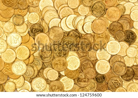 Background of the coins of Ukraine - stock photo