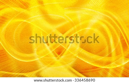 background of the golden silk fabric, closeup - stock photo