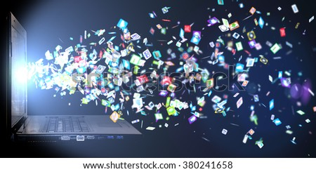background of the icons social computer network. Social network icons - stock photo