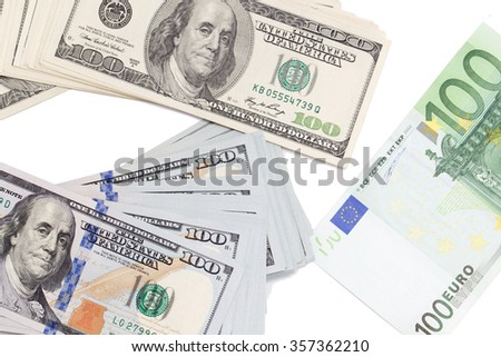 background of the money. Euro and Dollar