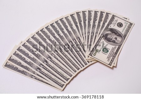 background of the money, hundred dollar bills front side. background of dollars, old hundred-dollar bil face, fan from american dollars banknotes. Isolate on white. millionaire  - stock photo