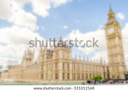 Background of the Palace of Westminster and Big Ben in London, UK. Intentionally blurred post production. - stock photo