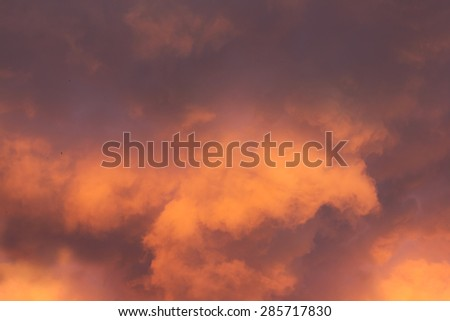 Background of the red evening sky and clouds - stock photo