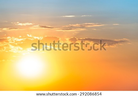 background of the rising sun - stock photo