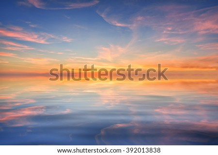 Background of the sky with clouds and a colorful reflection of the beautiful water, During the time sunrise and sunset - stock photo