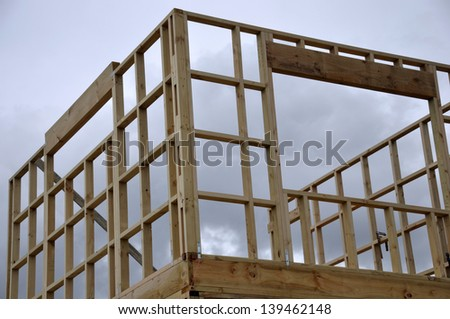 background of timber framing on large building