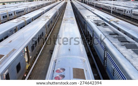 Background of Trains in Hudson Yards, New York City - stock photo