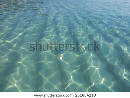 Background of transparent blue sea water top view - stock photo