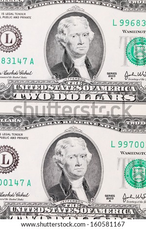 Background of two-dollar bills. Close up. Whole background.