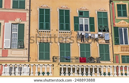 Background of typical Ligurian buildings, Cinqueterre, Liguria, Italy