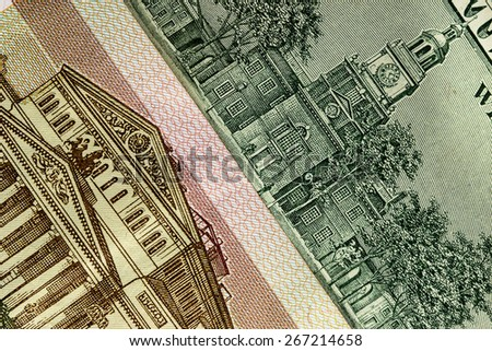 background of US dollars and Russian rubles - stock photo