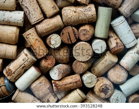 Background of used Italian wine corks - stock photo