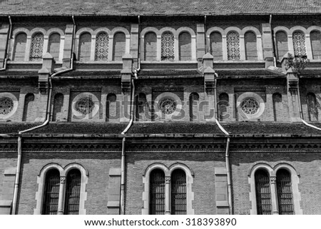 Background of wall, Duc Ba church. Black and white  - stock photo
