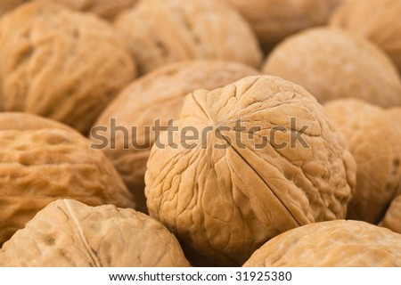 Background of walnuts, close up studio shot.