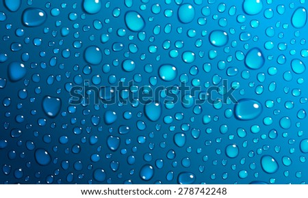 Background of water droplets on the surface in blue colors - stock photo