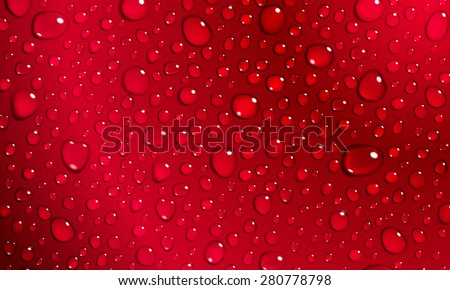 Background of water droplets on the surface in red colors - stock photo