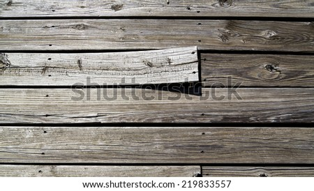 background of weathered boards with one warped