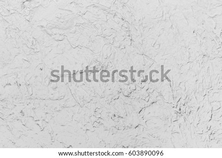 Background Of White Decoration Cement Wall In Brush Cement Method