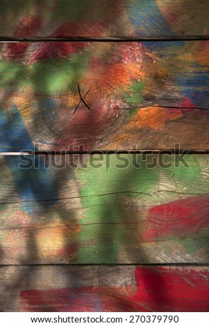 Background of wooden boards colored with mixed colors  - stock photo