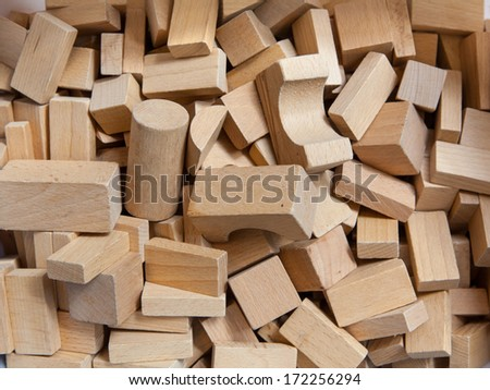 Background of Wooden Building Blocks in a Box - stock photo