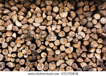 Background of wooden logs. Year rings. Pile wood. Deforestation theme. Wood industry. Chopped wood. Woodpile scene. - stock photo