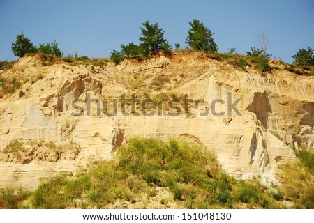 Background of yellow and white sandstone with trees