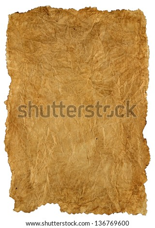 background old, burnt paper isolated on white background - stock photo