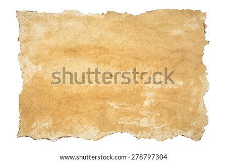 background old, burnt paper isolated on white background