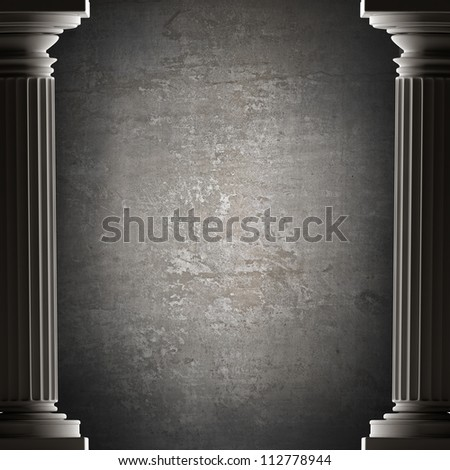 background Old columns is ancient style. Realistic 3D High resolution - stock photo